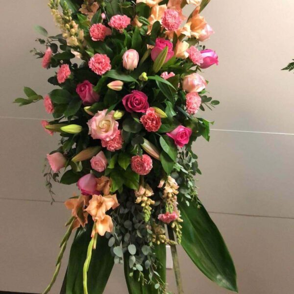 arrangement of color flowers and leaves