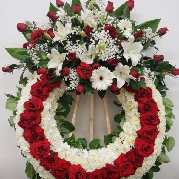 beautiful wreath of white and red flowers