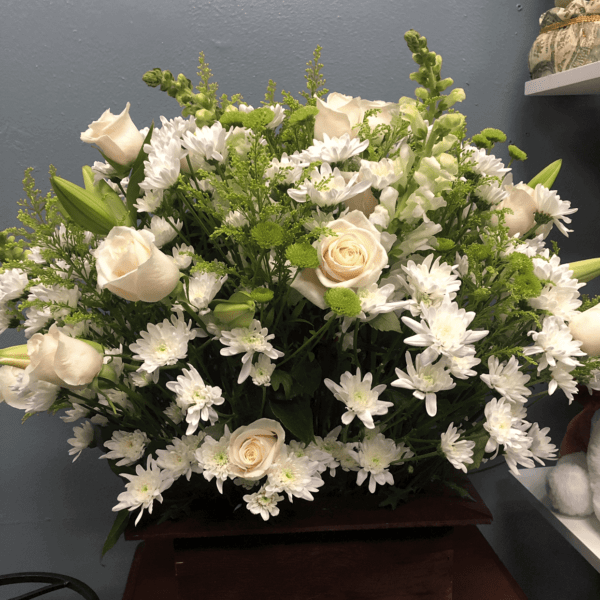 white flowers and white roses