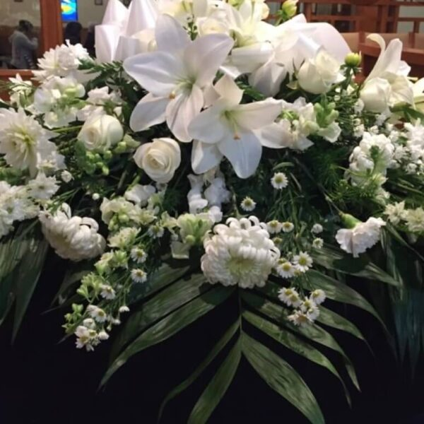 wreath of flowers and white roses