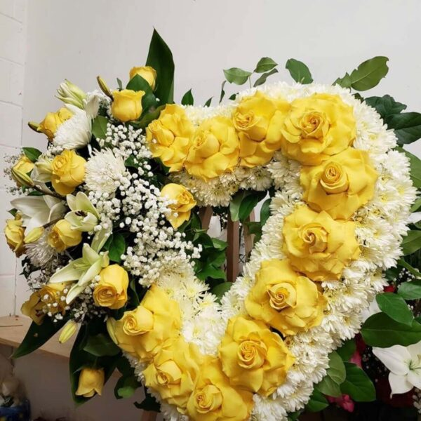 wreath of white and yellow flowers